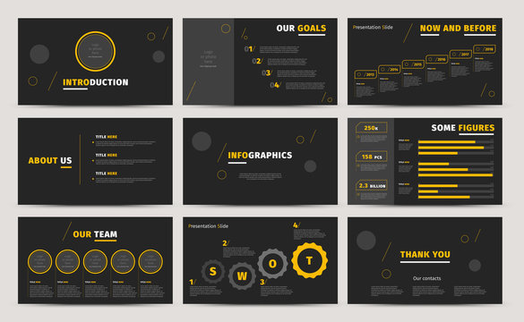 Corporate presentation slides design. Creative business proposal or annual report. Full HD vector keynote infographics template on black layout. Startup project advertising brochure.