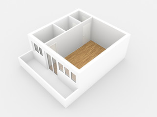 1 Zimmer Wohnung mit Balkon, Ansicht Perspektive