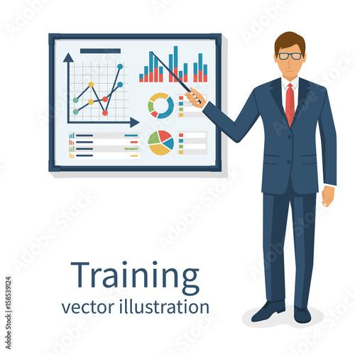 Business training concept  Modern businessman make