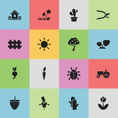 Set Of 16 Editable Farm Icons. Includes Symbols Such As Agrimotor, Strawberry, Plant Cutter And More. Can Be Used For Web, Mobile, UI And Infographic Design.