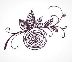 Rose flower. Decorative floral design element.