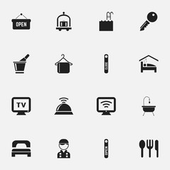 Set Of 16 Editable Travel Icons. Includes Symbols Such As Wireless Tv, Door Closed, Pool And More. Can Be Used For Web, Mobile, UI And Infographic Design.