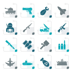 Stylized Army, weapon and arms Icons - vector icon set
