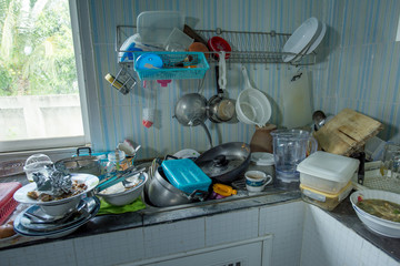 Dirty kitchen, Should be cleaned.