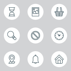 Network Icons Set. Collection Of Image, Obstacle, Pinpoint And Other Elements. Also Includes Symbols Such As Block, Time, Sand.