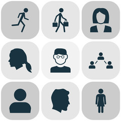 Human Icons Set. Collection Of Network, Running, Male And Other Elements. Also Includes Symbols Such As Social, Running, Female.