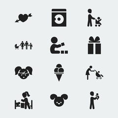 Set Of 12 Editable Relatives Icons. Includes Symbols Such As Cold Dessert, Gift, Love And More. Can Be Used For Web, Mobile, UI And Infographic Design.