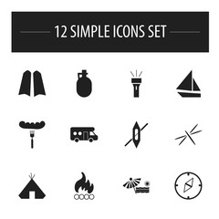 Set Of 12 Editable Travel Icons. Includes Symbols Such As Pitcher, Diver Shoes, Direction And More. Can Be Used For Web, Mobile, UI And Infographic Design.