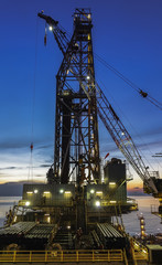 Sunset in Offshore Drilling Rig