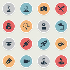 Vector Illustration Set Of Simple Creative Thinking Icons. Elements Champion, Exactness, Leadership And Other Synonyms Video, Pencil And Lightbulb.
