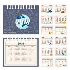 Full calendar for wall or desk year 2018