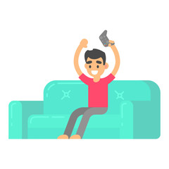 Man play in video game on couch in isometric flat style