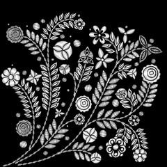 Black and white flower embroidery design. Embroidery ethnic floral neck line or short floral blooming for fashion wearing. Vector.