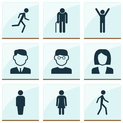 Human Icons Set. Collection Of Female, Happy, Work Man And Other Elements. Also Includes Symbols Such As Scientist, Woman, Jogging.