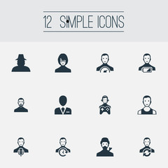 Vector Illustration Set Of Simple Member Icons. Elements Narrator, Low Energy Character, Mysterious Man And Other Synonyms Agent, Time-Manager And Business.