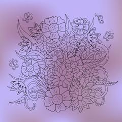 transparent floral summer composition with butterflies violet gradient