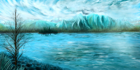 Cold and fresh nature illustration of a waterscape in front of a mountain range