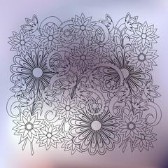 transparent floral composition silver gradient