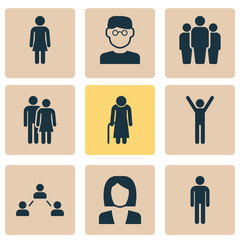 People Icons Set. Collection Of Happy, Female, Scientist And Other Elements. Also Includes Symbols Such As Group, Team, Gentlewoman.