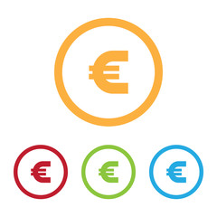 Colorful Euro Sign Icons With Rings