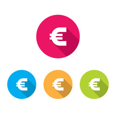 Modern Euro Sign Icons With Long Shadow