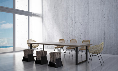 3D rendering interior design of minimal dining room and concrete wall and wooden table and chairs