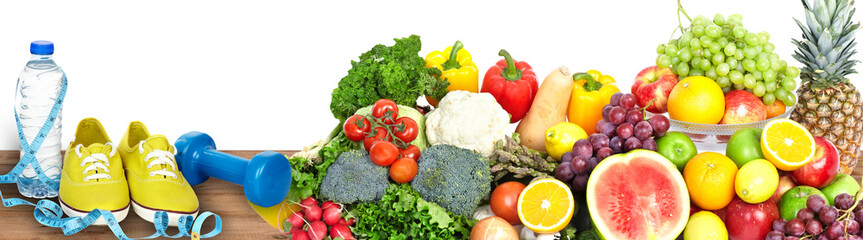 Fototapete - Vegetables and fruits background