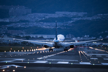 The plane is about to land on the runway