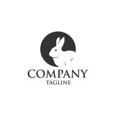rabbit in hole icon vector logo