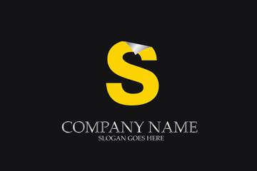 S Letter  yellow logo alphabet