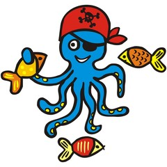 Funny octopus and fish, vector illustration