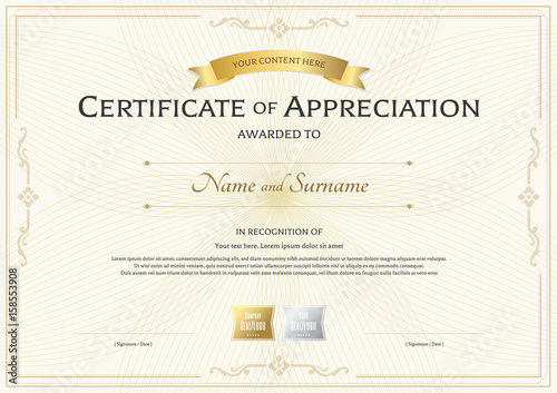 Certificate of appreciation template with gold award ribbon on certificate of appreciation template with gold award ribbon on abstract guilloche background with vintage border style yelopaper Choice Image