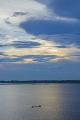 Beautiful sky sunset at tropical Thai lake