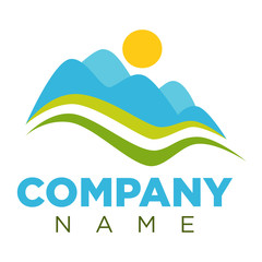 Company logotype with minimalistic landscape isolated illustration