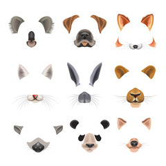 Video chat effects animal faces flat icons templates of dog, rabbit, cat