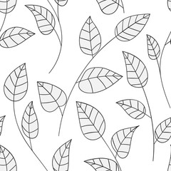 Beautiful decorative floral ornamental sketchy pattern, doodle style with foliage and branches. All elements are not cropped and hidden under mask, place the pattern on canvas and repeat