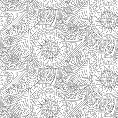 Tribal ethnic background. Hand-drawn doodles, seamless pattern. All elements are not cropped and hidden under mask, place the pattern on canvas and repeat