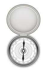 real steel metal compass on a white background