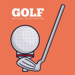golf ball and stick icon over orange background colorful design vector illustration