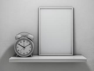 Mock up of blank frame poster on the shelf. 3D rendering