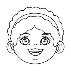 cute cartoon girl laugh face expression vector illustration