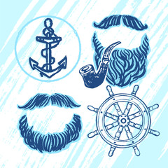 Ink hand drawn seafarer's elements for party decoration: mustaches, beards, smoking pipe, ship anchor and wheel