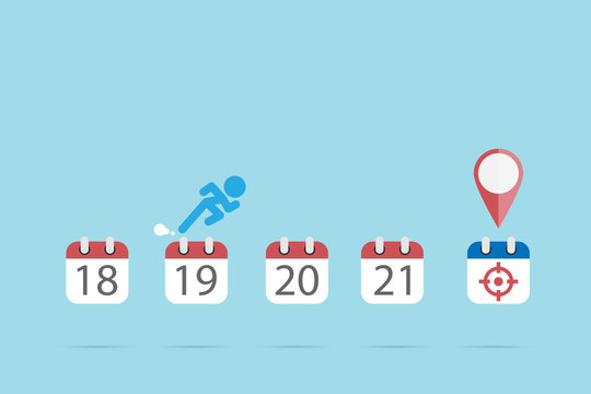 businessman is running on calendar symbols to the target icon, time and business concept