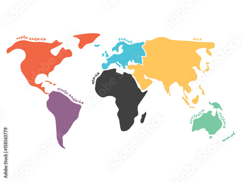 Multicolored world map divided to six continents in different colors multicolored world map divided to six continents in different colors north america south america gumiabroncs Choice Image