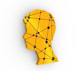 Profile of the head of a man. Mental health relative design template. Scientific medical designs. Molecule And Communication Background. Connected lines with dots. 3D rendering