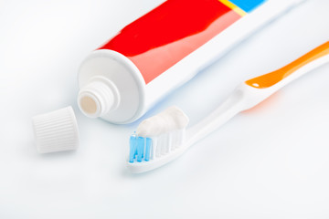 toothbrush And toothpaste isolated on white. Dental floss. Health and dental hygiene. Personal hygiene. A healthy mouth. Bathroom amenities. accessories.