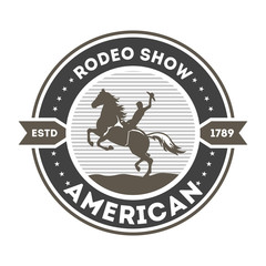 American rodeo show isolated label