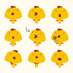 Set funny chicken in different poses. Collection isolated chicken in cartoon style for design children holiday or goods.