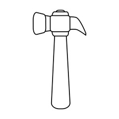 hammer tool icon image vector illustration design  black line