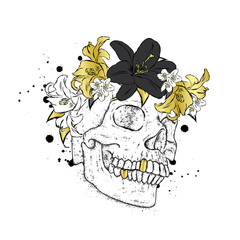 Stylish in a wreath of flowers. Vector illustration for a card or poster, print on clothes. The hipster skeleton. Fashion & Style.
